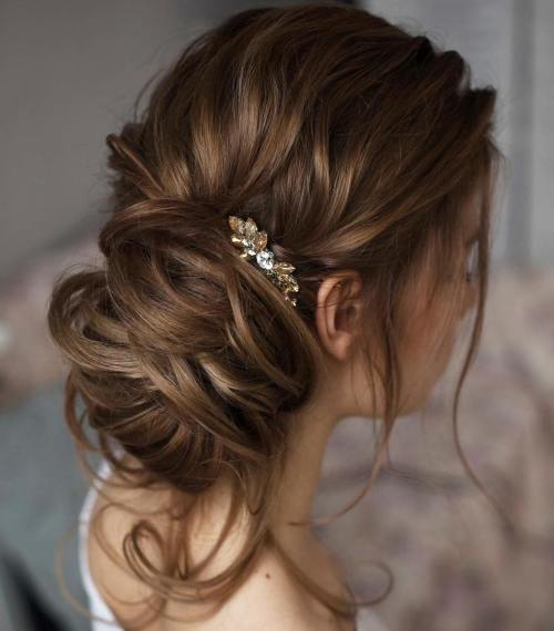 Side Messy Bun Updo For Long Hair