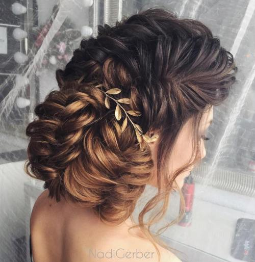 Fishtailed Side Bun Updo