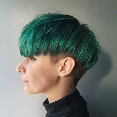 Green And Blonde Undercut Pixie Bob