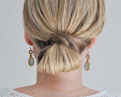 low knot updo for medium hair