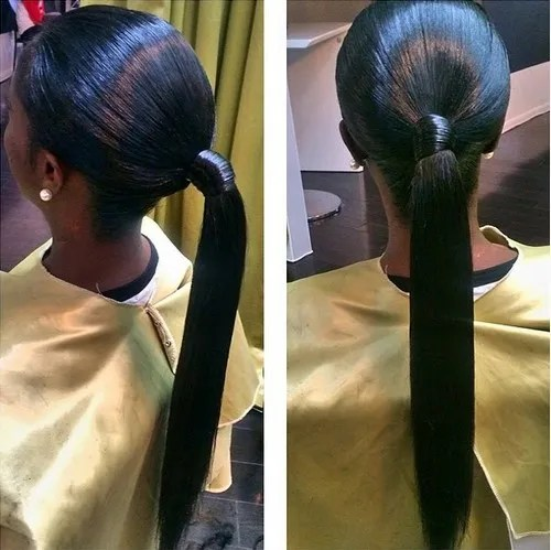 sleek low ponytail