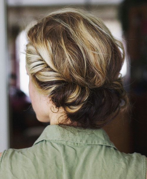 casual updo for wavy hair