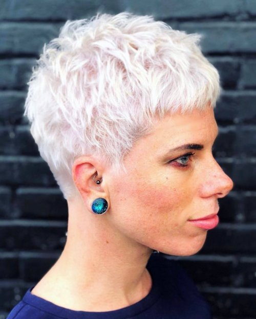 White Blonde Super Short Hair