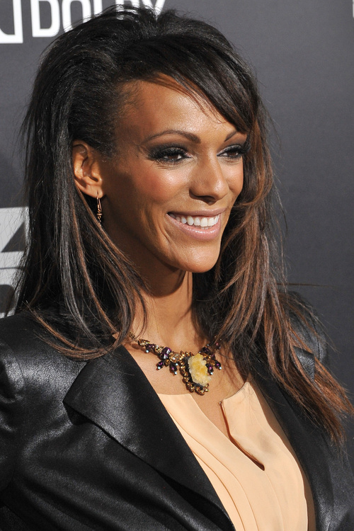 black hairstyle with bangs for relaxed hair