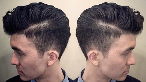 side-swept men's hairstyle