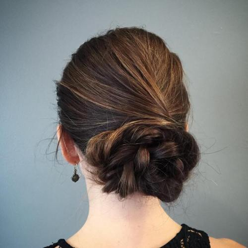 Braided Bun Updo For Long Hair