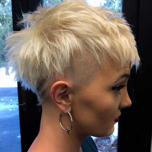 women's short blonde undercut