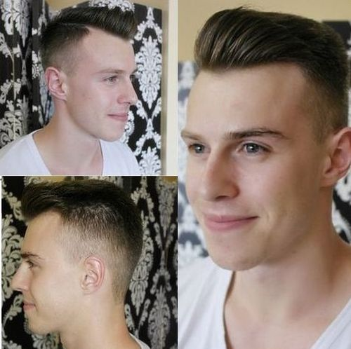 side-parted tapered haircut for men