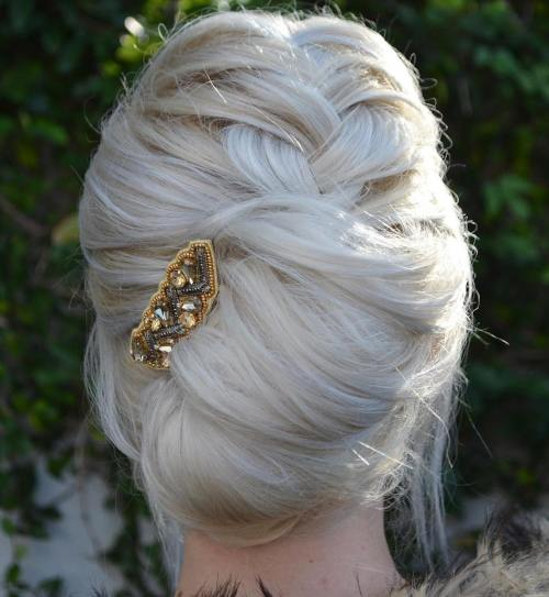 Blonde French Twist With A Braid