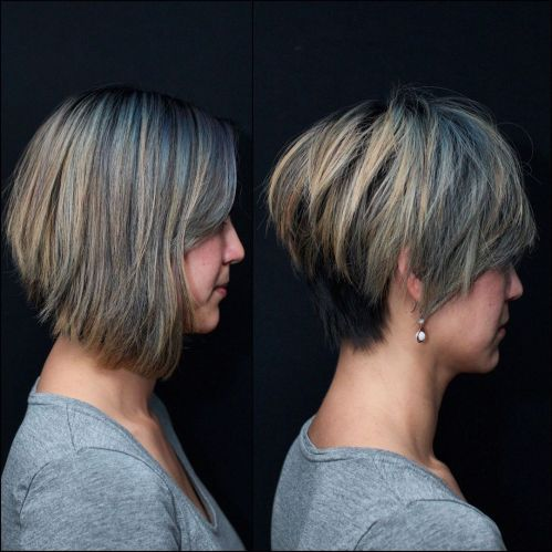 Long Choppy Pixie With Blonde Highlights