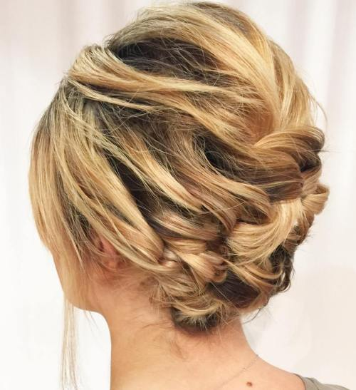 Asymmetrical Braided Updo For Short Hair