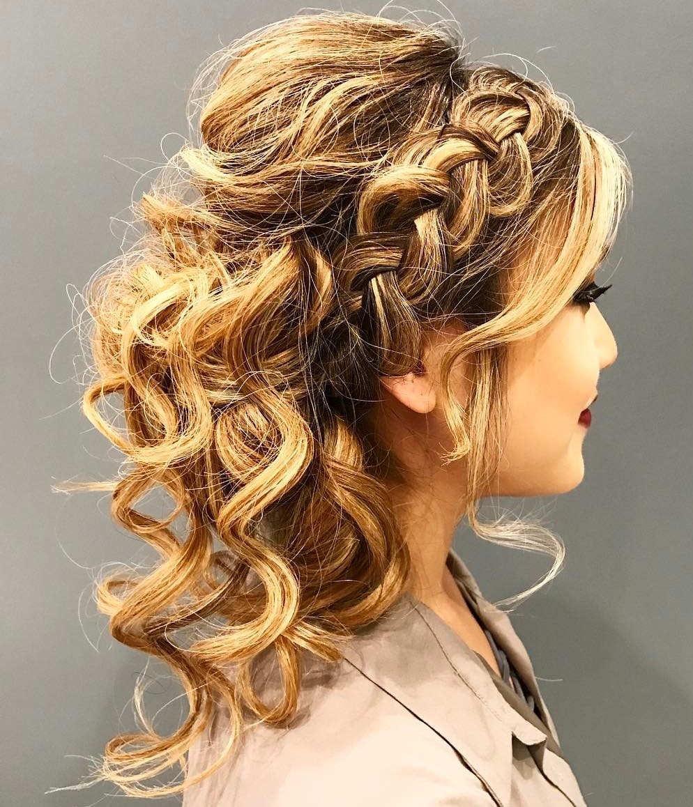 Curly Updo With Side Braid And Bangs