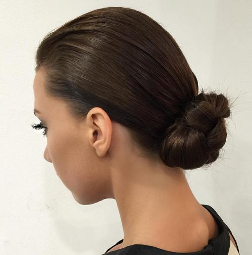 Slick Knotted Low Bun