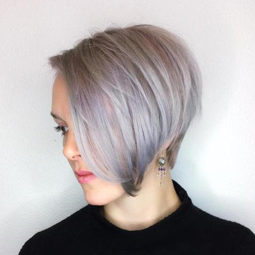 Purple Gray Side Parted Pixie Bob