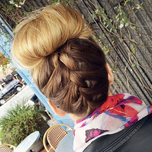Upside Down Braid And Top Bun
