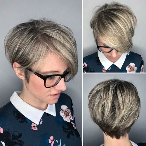 Voluminous Pixie Bob With Blonde Highlights