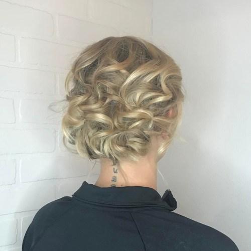 Curly Blonde Updo For Shorter Hair
