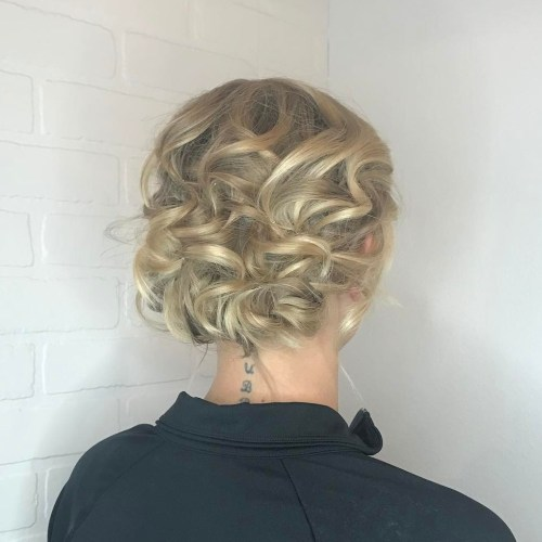 Curly Blonde Updo For Shorter Hair