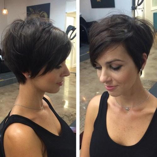 Feathered Pixie Haircut With Long Bangs