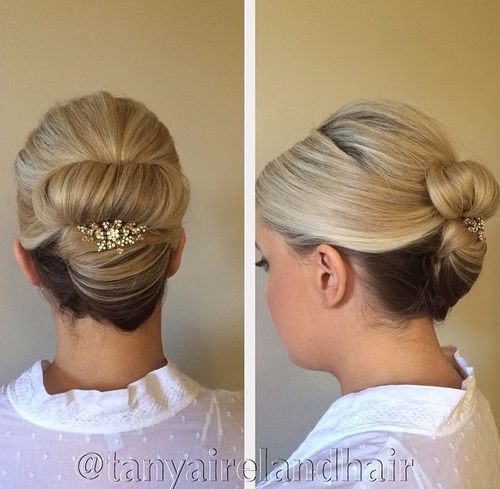 sleek formal updo for medium hair