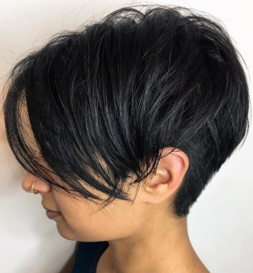Undercut Black Pixie With Bangs