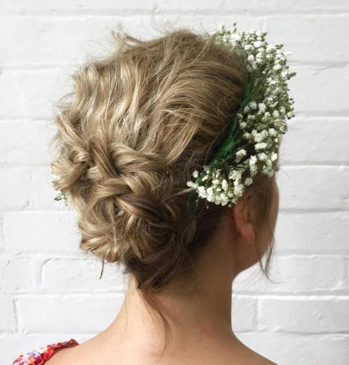 Braided Messy Updo With A Floral Headband