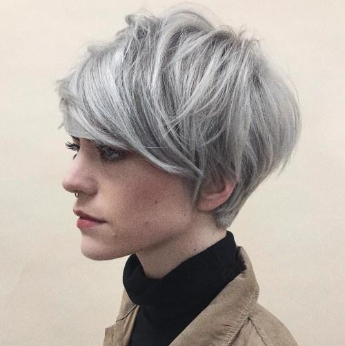 Layered Silver Pixie For Thick Straight Hair