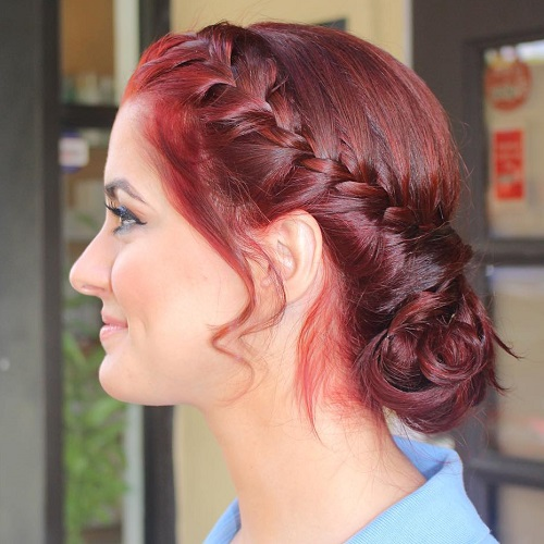 Messy Chignon With A Side French Braid
