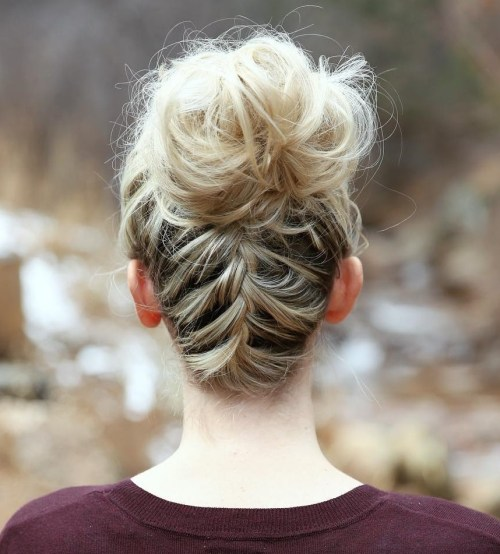 Braid Into Messy Bun Updo