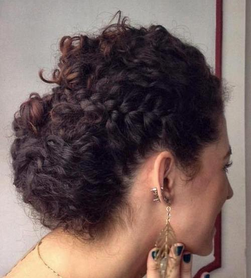 easy curly updo with a side braid