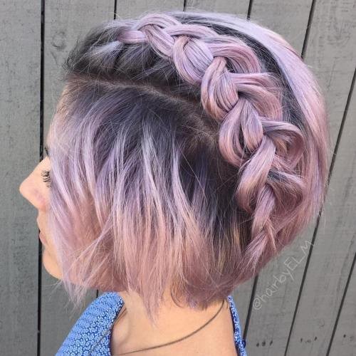 Lavender Bob With Root Fade And Braid