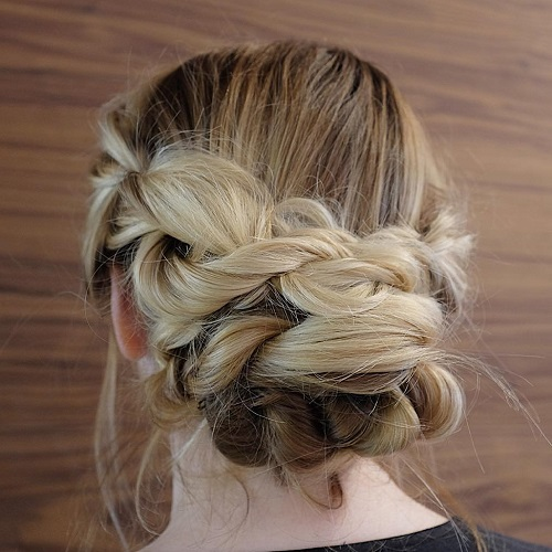 Messy Braid And Bun Updo