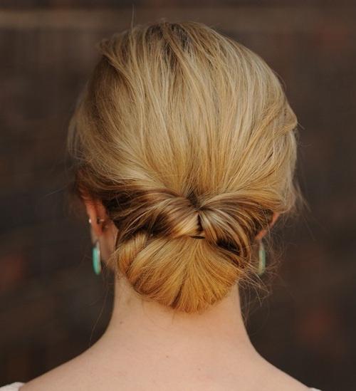 low bun updo with a twist