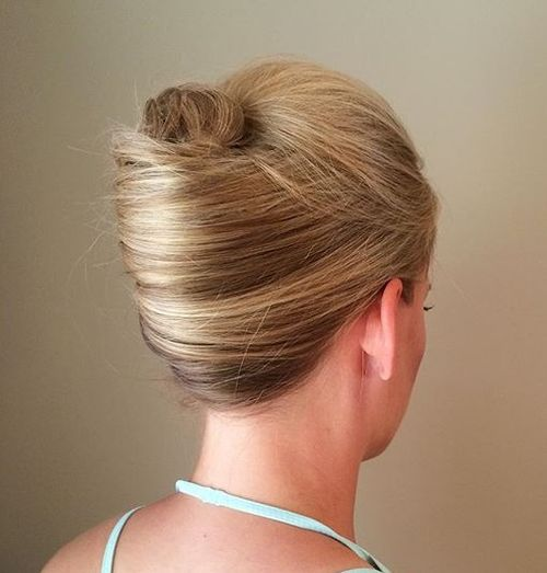 blonde sleek french twist