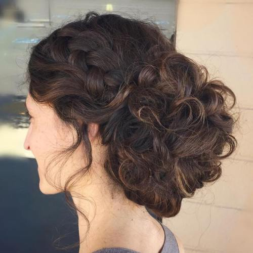 Large Curly Low Bun Updo