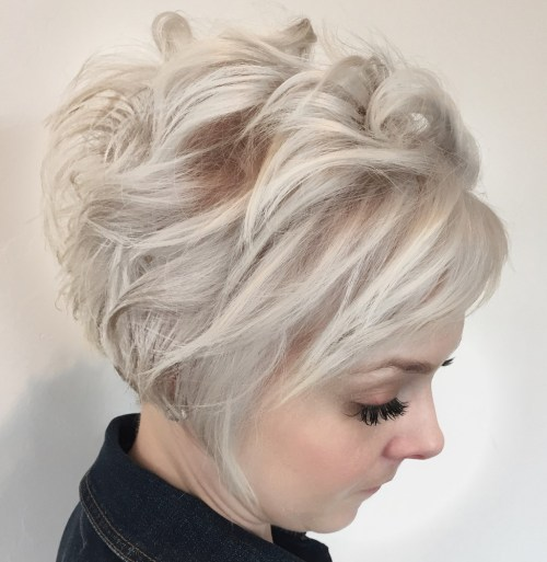 Messy Curled Ash Blonde Pixie