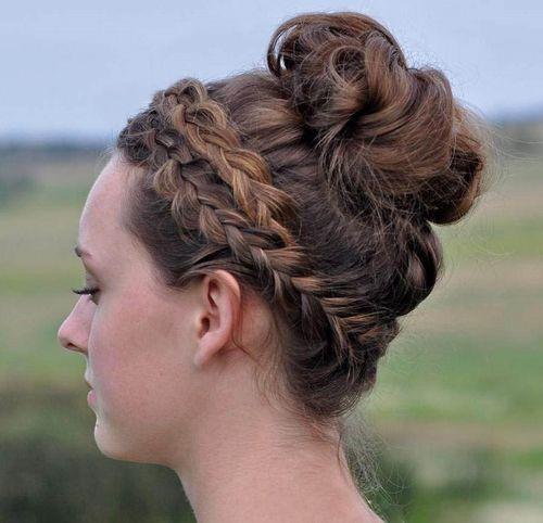crown braid and bun updo
