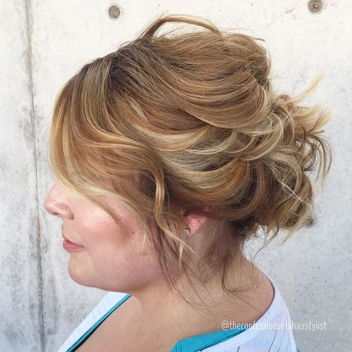 messy updo for shorter hair