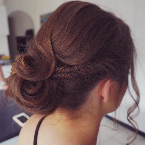 Side Fishtail And Low Bun Updo