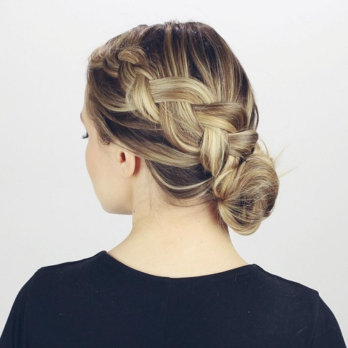 Diagonal Braid And Side Bun