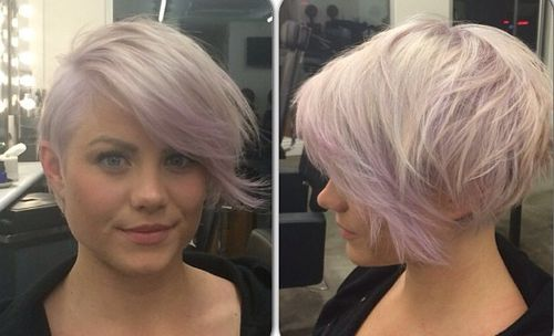 lavender long pixie hairstyle
