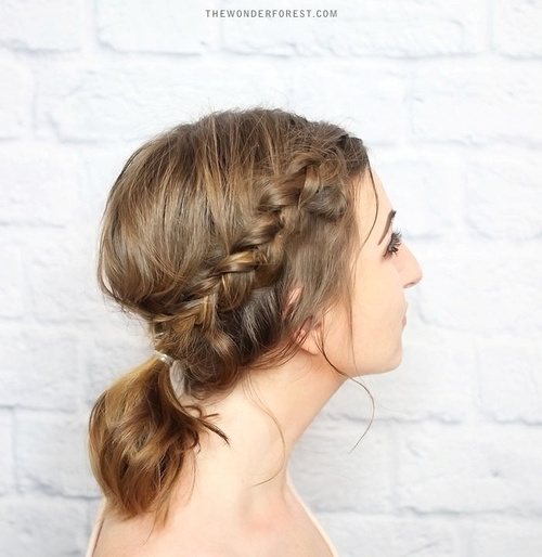 braided updo with a pony