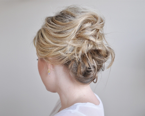 twisted messy updo for short hair