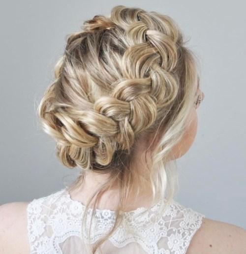 Blonde Messy Crown Braid