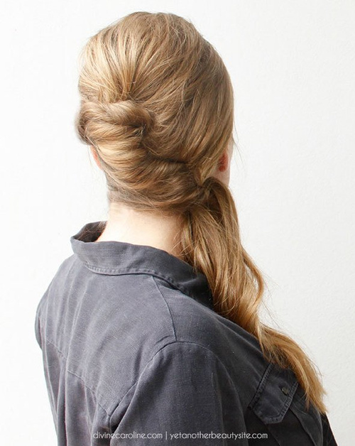 french twist updo with a low pony