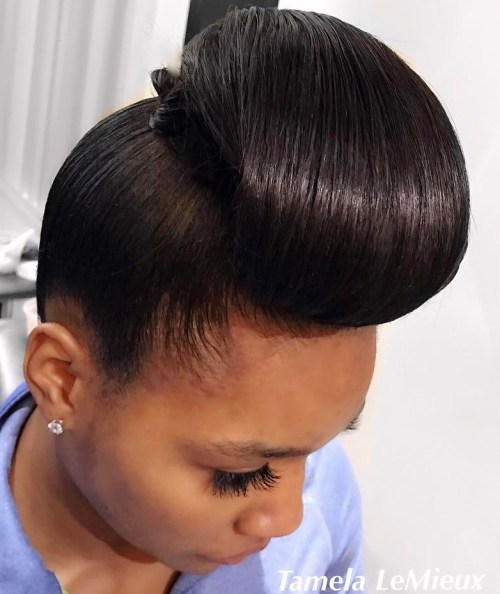 Sleek Updo For Silk Pressed Natural Hair