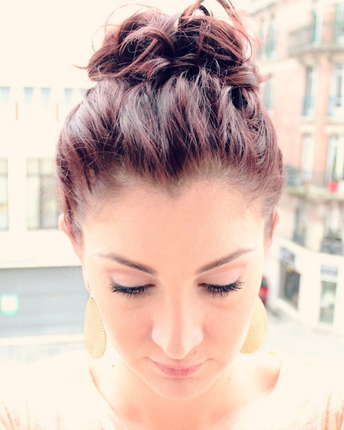 high bun updo for short hair