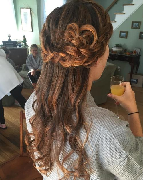 half updo with a crown braid