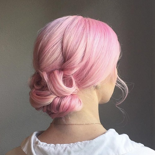 Pastel Pink Low Curly Bun