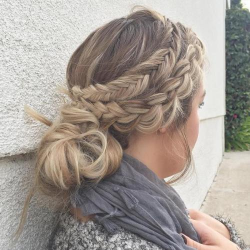Two Side Braids With A Low Knot